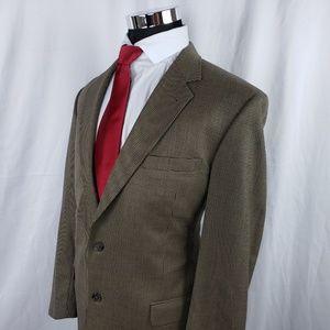 Jos A Bank Mens 44L Blazer Tan Brown Houndstooth